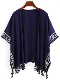 Online shopping for Royal Blue Aztec Print Fringe Kimono from a great selection of women's fashion clothing & more at MakeMeChic.COM.