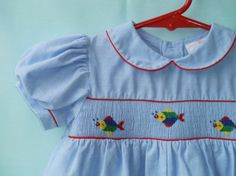 Vintage 80's Baby Girl's Chambray Smocked by StarrChildVintage, $18.00