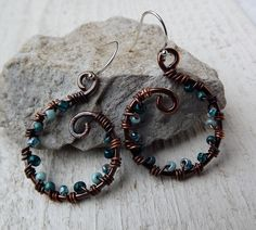 Handforged artisan wrapped copper blues earrings