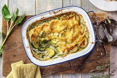 Romige lasagne met prei en courgette