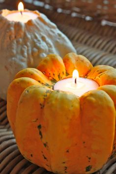 'Gourd'eous candle holders ~ simply use a drill bit the size of your tea light