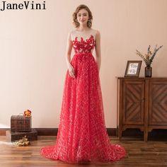 2018 New Robe de Soiree Longue Elegant Red Lace Red Evening Dress 2018 Long  Cheap Appliques Chiffon Evening Gown Vestido de Fe. ccf35ed09309