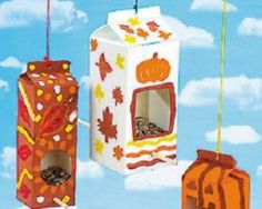 recycle kids crafts bird feeders (autumn activities for kids rainy days) Kids Crafts, Recycled Crafts Kids, Fall Crafts For Kids, Preschool Crafts, Projects For Kids, Holiday Crafts, Art For Kids, Craft Projects, Craft Ideas