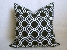 Octagon Indoor Outdoor Decorative Pillow - 16 inch - Black - White - BOTH SIDES - Modern Pillow - Geometric Pillow - Outdoor Pillow. $20.00, via Etsy.