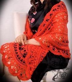 Beautiful crochet shawl - with diagram Crochet Shawl Diagram, Crochet Shawl Free, Crochet Wrap Pattern, Crochet Shawls And Wraps, Irish Crochet, Crochet Scarves, Crochet Clothes, Crochet Lace, Crochet Patterns