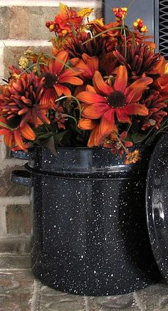 LOVING THESE fall flowers showcased in an Enamelware double pot