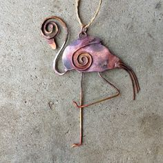 Copper Flamingo Ornament by WirestormCreations on Etsy