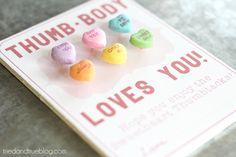 "Cool idea! ""Thumb-body Loves You!"" Sweetheart Thumbtacks Valentine - A Tried & True Printable"