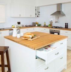 Kaboodle kitchen - square island benchtop, available at bunnings Kitchen Island Furniture, Kitchen Island Bench, Kitchen Benches, Kitchen Reno, Kitchen Layout, Diy Kitchen, Kitchen Design, Kitchen Ideas, Kitchen White