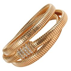 Diamond Gold Wrap Bracelet with Diamond Clasp | From a unique collection of vintage more bracelets at https://www.1stdibs.com/jewelry/bracelets/more-bracelets/