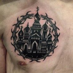 Russian Church Tattoo Chest - http://tattootodesign.com/russian-church-tattoo-chest/ | #Tattoo, #Tattooed, #Tattoos