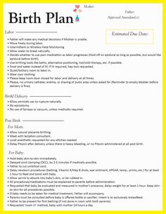 Things to consider when writing a birth plan babies my for Birth plan template australia
