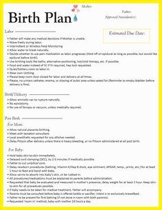 Birth Plan Template Printable  Sample Birth Plan By Rgi