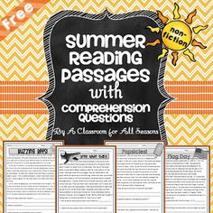 Reading Comprehension Passages  Here are 4 fun reading passages that can be used in the spring or summer. The topics include Flag Day Buzzing Bees Great White Sharks and Popsicles! Enjoy!  2nd grade 3rd grade 4th grade non-fiction comprehension reading comprehension Summer