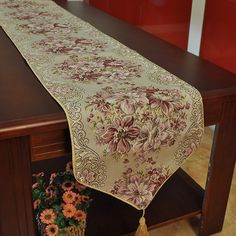 Luxury Table Runner Embroider Home & Hotal Decoration Handcraft Europe Style Neoclassical For Wedding 3 size