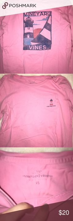 Long sleeve vineyard vines shirt Pink long sleeve vineyard vines shirt size xs with lighthouse detailing Vineyard Vines Tops Tees - Long Sleeve