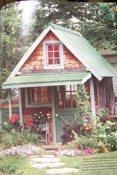 Potting shed or guest house .metal roof on shed over doorway