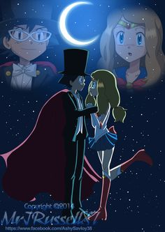 Ash and Serena as Tuxedo Mask and Sailor Moon ^_^ ^.^ ♡ OMG YES. YES. OH MY MÖBIUS YES.