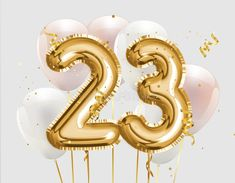 Illustration about Happy birthday gold foil balloon greeting background. 23 years anniversary logo template- celebrating with confetti. Illustration of holiday, birth, celebrate - 163407088 23 Birthday Quotes, Happy Birthday 23, Birthday Posts, 23rd Birthday, Golden Birthday, Birthday Pictures, Birthday Outfits, 21st Birthday Cake Toppers, Birthday Decorations