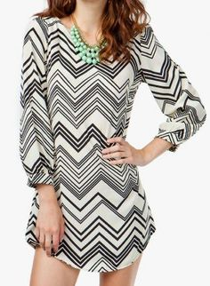 black & ivory chevron shift dress