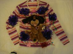 debs Woman's tacky ugly christmas sweater  small purple pink cashmere dog puppy by keriblue4 on Etsy