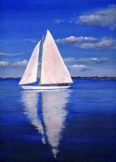 Blue water white sail boat
