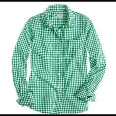 J. Crew Thomas Mason Shirt Gorgeous green check print!  Wore once.  No trades. J. Crew Tops
