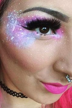 Galaxy Makeup Looks And#8211; Creative Makeup Ideas for Extraordinary Girls ★ See more: http://glaminati.com/galaxy-makeup-looks/