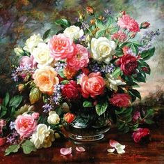 Roses - The Perfection of Summer (oil on canvas) Wall Art & Canvas Prints by Albert Williams