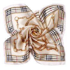 LING/The European Style Plaid Silk Scarf, New Fashion Square Foulard Women S