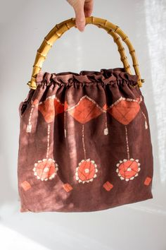 Vintage Swedish Textile Tote Bag, Large Summer Bag, Boho Chic Linen Bag, Brown Hippie Shoulder Bag, Handmade Beach Bag, Bamboo Handles by LittleRetronome
