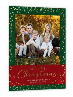 Sparkling Wonder Christmas Card, Square Corners, Green