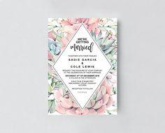 Boho wedding invitation with succulents for your boho desert wedding #southwesternwedding