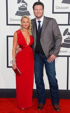 Miranda Lambert & Blake Shelton from 2014 Grammys: Red Carpet Arrivals | E! Online