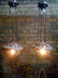 unique vintage lights.  Steampunk dinner lights.