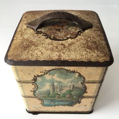 Vintage Square Biscuit Tin ~ Castle Views ~ 'Biscuits' Embossed On Handle | eBay