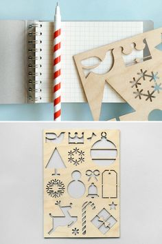 Laser cut Christmas stencil. Make cards, decorate gifts!