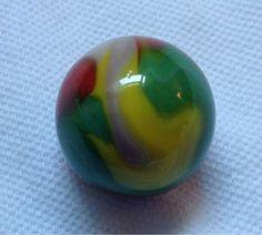 """Vitro Agate Parrot Marble Wet Mint 15/16"""" minus."""