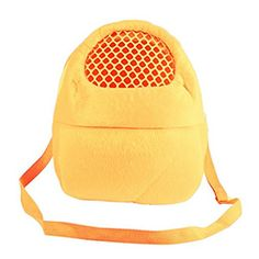 SALICO Hedgehog Hamster Mouse Outgoing Carrier Bags, Breathable Portable Rat Travel Handbags Backpack with Shoulder Strap (L, Yellow)