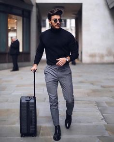 Mens solid plain choker sweater w 2019 zaki outfit grid mens Mens Fashion Blog, Fashion Mode, Fashion Night, Suit Fashion, Classy Mens Fashion, Winter Fashion, Fashion Boots, Fashion Ideas, Fashion Black