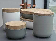 Belgian designer Vincent Van Duysen's ceramic and wood containers, manufactured by When Objects Work,