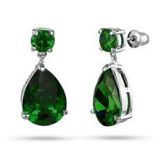 Angelina Jolie Inspired Pear Drop Emerald CZ Earrings