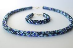 Items similar to Dark blue rope necklace and bracelet set. Beaded jewelry set in shades of blue. Bead crochet tube on Etsy Rope Necklace, Beaded Necklace, Bead Crochet Rope, Jewelry Patterns, Bracelet Set, Shades Of Blue, Jewelry Sets, Beaded Jewelry, My Etsy Shop