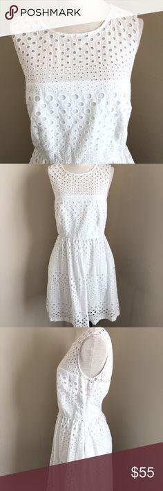 "CYNTHIA ROWLEY WHITE EYLET SLEEVELESS DRESS Lightweight, lightly lined 100% cotton dress. 36"" Long. 17"" Armpit to Armpit. 14"" Waist. Measurements taken while laying flat. Cynthia Rowley Dresses"