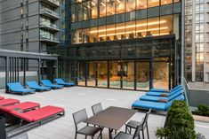 Outdoor Sundeck just outside the Indoor Pool at Tower Island City's Newest Luxury High-Rise Apartment Building. High Rise Apartments, Queens Nyc, Long Island City, Outdoor Furniture, Outdoor Decor, Sun Lounger, New Homes, Floor Plans