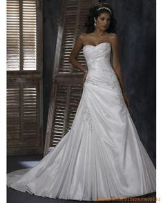 Neue Brautmode 2013 aus Satin Herzausschnitt verzierte Korsett und Rock mit kurzer Schleppe