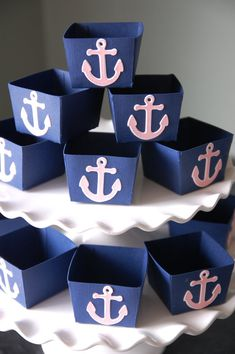 Anchor Candy Cups, Nautical Party Supplies, Nut Cups, Nautical Favors, Party, 12 Pcs, Navy, Light Pink colors on Etsy, $12.00