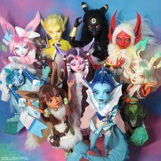 Eeveelution dolls, the complete set! Custom OOAK dolls by Dollightful
