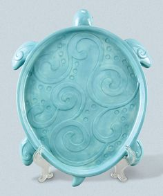 Wavy Turquoise Ceramic Turtle Platter: H x W x D Blue Pottery, Ceramic Pottery, Ceramic Turtle, Pottery Handbuilding, Seaside Style, Linens And More, Baby Sea Turtles, Turtle Love, Ceramic Techniques