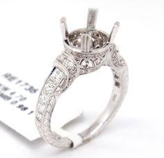 Elegant 18k White Gold 0.98tcw Pave Diamond Engagement Semi Mount Bridal Ring,6